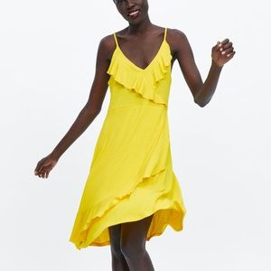 NWT Zara Yellow Strappy Ruffled Dress, Small